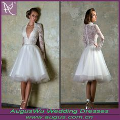 Elegant Short Low Cut Covered Back Knee Length Wedding Dresses With Sleeves(aw-w42) ,  $98-$188