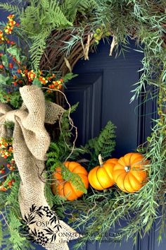 Bittersweet, Burlap, and Pumpkins... to dress the door for FALL