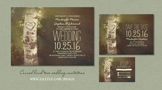 Rustic country wedding invitation with white birch tree and carved love heart initials. Perfect invite for vintage wedding or countryside wedding with barn reception. More items: birch save the dat...