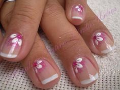 French manicure with corner top flower