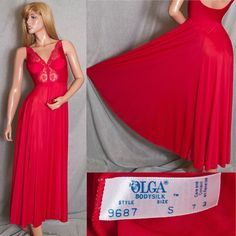 """Available on Ebay & Etsy $79.95 VINTAGE SMALL OLGA 9687 NIGHTGOWN LIQUID SATIN BODYSILK LACE 180"""" GRAND SWEEP LINGERIE"""