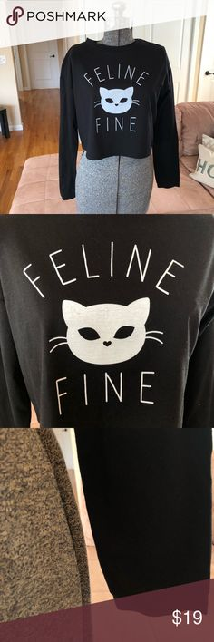 """NWT MEDIUM & LARGE """"FELINE FINE"""" CAT TOP! Crop top style, see measurements! Perfect for """"NASTY WOMEN""""! 😉 Thanks for visiting my closet! Tops Tees - Long Sleeve"""