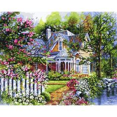 Plaid Paint by Number 16 in. x 20 in. Kit Victorian Cottage Paint by Number Victorian Gardens, Victorian Cottage, Victorian Homes, Plaid Paint By Number, Paint By Number Kits, Water Based Acrylic Paint, Garden Painting, House Painting, Texture Art