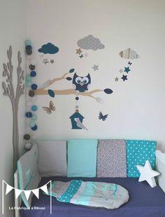 stickers décoration chambre enfant garçon bébé branche cage à oiseau hibou oiseaux étoiles bleu pétrôle craft gris argenté blanc