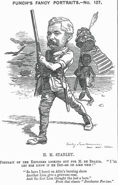 """STANLEY, Henry Morton [alias John Rowlands] (1841-1904)  explorer and journalist; founder of Belgian Congo                       Caption: Portrait of the Explorer looking out for M. de Brazza.""""I'll let him know if he Con-go on like this!""""  Depicted as an explorer with rifle followed by black slave  Vol. 83, 28 October 1882, p.203 #Victorian #Cartoon #Punch #Periodicals #Pen #Ink #Caricature"""