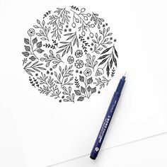 Kunst Zeichnungen - Create your best work with Tombow USA Floral Illustrations, Illustration Artists, Botanical Illustration, Bujo Inspiration, Sketchbook Inspiration, Circle Drawing, Floral Drawing, Lettering Tutorial, Bullet Journal Layout