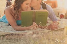 I love this idea for engagement photos. Both of us reading books are perfect for a book themed wedding!