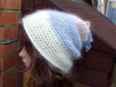 WHITE BLUE MOHAIR  Crochet Hand Knitted Ladies Beanie Hat by PepiZ