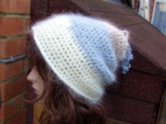 WHITE BLUE MOHAIR  Crochet Hand Knitted Ladies Beanie Hat by PepiZ