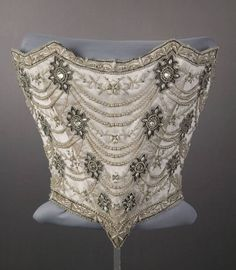 Wedding Bodice, Weeks (Chicago): 1896, silk taffeta, silk satin, tulle, silk floss, mesh, rhinestone, pearl, cording.