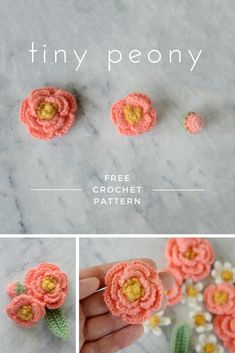 free crochet flower pattern - This pattern includes instructions for making 2 different peonies, a flower bud, and a leaf. You'll just need some dk weight yarn scraps and a 2.75 mm crochet hook to create your own tiny peony bouquet.