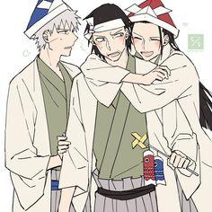 Father and sons. Butsuma Senju with Hashirama and Tobirama.