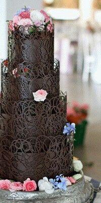 Chocolate Lace Wedding Cake