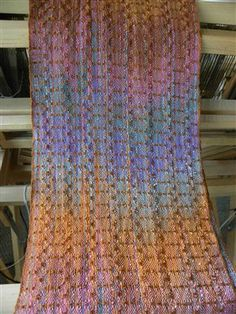 Cotton & slub rayon warp with tencel weft 4H 4T Other items you may enjoy:In the dusk of the garden scarfShadow Weave – Organic Cotton ScarfBlooming Flower Scarf – 4 ShaftIkat weaving with fun reedPartly spun wool scarf