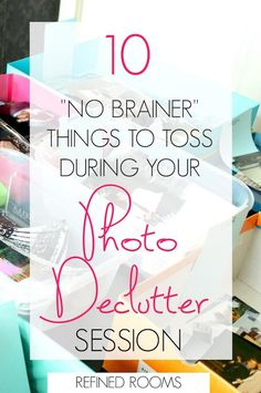 """Wondering photos to toss during your print photo decluttering session? I've compiled a list of 10 """"no brainer' photo categories to get you started! Picture Storage, Photo Album Storage, Camera Aesthetic, Foto Fun, Declutter Your Life, Photo Projects, Storage Organization, Organizing Tips, Decluttering Ideas"""