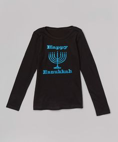 Another great find on #zulily! Beary Basics Black 'Happy Hanukkah' Tee - Infant, Toddler & Girls by Beary Basics #zulilyfinds