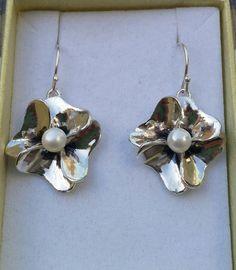 Pearl Silver Earrings White Pearl Earrings Sterling by TalyaDesign