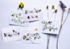 Greeting card set of 5 different cards + envelopes