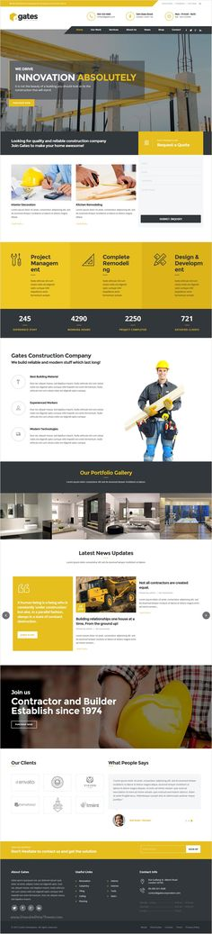 Gates is a #responsive #WordPress template for construction, #building companies website with 3 unique homepage layouts download now➩ https://themeforest.net/item/gates-construction-building-business-wp/16918094?ref=Datasata
