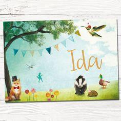Geboortekaartje geïllustreerd. Dieren in bos | vos, das, eend, libelle, kolibri, egel | design op maat | tekening | grafisch | slingers | indie | babykaart