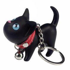Black Cat Kitten Keychain Keyring Bell Toy Lover Key Chain Rings For Handbag - Accessories, Keyrings & Keychains # Elephant Keychain, Cat Keychain, Cat Lover Gifts, Cat Gifts, Cat Lovers, Cat Themed Gifts, Key Chain Rings, Key Chains, Black Cartoon