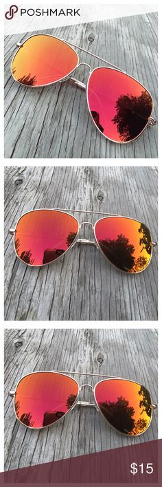 Red Aviator Sunglasses Red aviator sunglasses. Mirrored sunglasses. Reflective sunglasses. UV Protection. Bundle and save. Accessories Sunglasses
