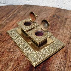 Antique-Desktop-Brass-Double-Inkwell-Ink-Stand