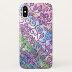 Colorful Plaid Faux Pink Glitter Floral Pattern iPhone X Case - girly gift gifts ideas cyo diy special unique