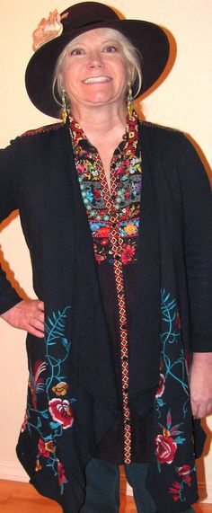 This photo looks like a mugshot of a former hippie chick in bad lighting (me), but it shows how great folkloric boho outfits with embroidery details  come out when you mix and match and layer. Fun, right? Read article here: http://www.boomerinas.com/2015/12/29/boho-hippie-clothing-a-love-letter-to-johnny-was-with-8-fashion-tips/