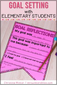 In my growth minded classroom student goal setting and reflection is routine practice. Even our youngest learners can have a clear understanding that a goal is just an area of weakness we need to strengthen and celebrate improvement! Help your students develop a growth mind set and set goals with these ideas and helpful lessons. By Mrs. Winters Bliss #growthmindset #elementarygrowthminset #goalsforelementary
