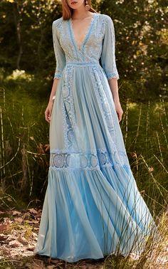Get inspired and discover Costarellos trunkshow! Shop the latest Costarellos collection at Moda Operandi. Chiffon Maxi Dress, Lace Dress, Silk Chiffon, Pretty Dresses, Beautiful Dresses, Vintage Dresses, Vintage Outfits, Vintage Clothing, Women's Clothing