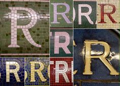 Subway station wall sign letter  tile mosaic from NYC