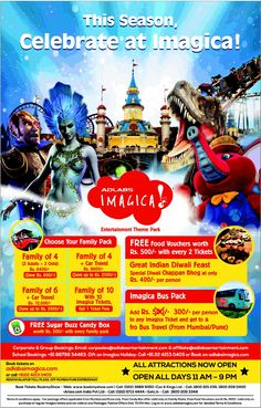 Adlabs Imagica Save up to Rs. 2,800 on Family of 6 + Car Travel (Rs. 12,600)