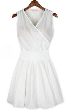 White V Neck Sleeveless Pleated Wrap Front Dress