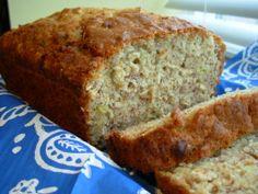 Banana-Oatmeal Bread  Subbed coconut oil for veg., gluten free flours 1c + 1/2 c almond flour, peacans on top!