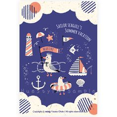 おおでゆかこ mintyポストカード(I)Sailor Seagull's Summer vacation - HueStyle 手作り作家のポストカード・紙雑貨・小物雑貨のお店