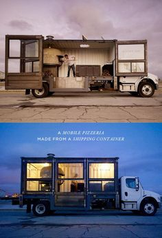 Mobile pizzeria made from a shipping container Great idea instead of a vintage trailer!!!