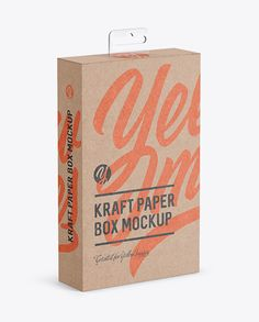 Kraft Paper Box with Hang Tab Mockup - Half Side View (high-angle shot)