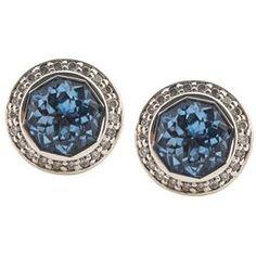John Hardy Blue Topaz Pave Diamond Earrings
