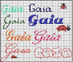 Schema punto croce Gaia Gaia, Minnie Baby, Name Art, Pattern Art, Family History, Diy And Crafts, Cross Stitch, Bullet Journal, Lettering