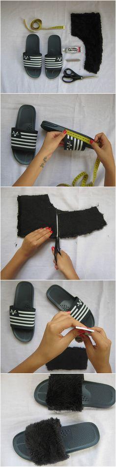 Haz tus propias Fur Slides como las de Rihanna #DIY #fashion #furslides