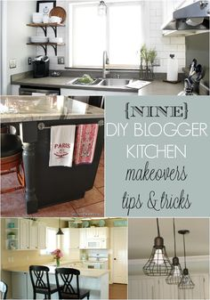 9 DIY Blogger Kitchen Makeovers. Great tips from bloggers on how to makeover your kitchen on a strict budget.