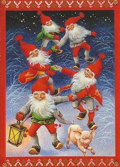 Lars Carlsson Christmas Mood, Noel Christmas, Christmas Paper, Vintage Christmas Cards, Christmas Knomes, Baumgarten, Christmas Illustration, Old Postcards, Scandinavian Christmas