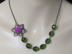 Flower Necklace Anthropologie Necklace by AdornmentsbyDebbie, $26.00
