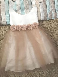 Gorgeous two tone dress. The top is soft ivory the skirt has layers of tulle in champagne color. Tulle beneath the skirt for fullness. Girls Frock Design, Kids Frocks Design, Baby Frocks Designs, Baby Dress Design, Baby Frock Pattern, Frock Patterns, Baby Girl Dress Patterns, Baby Girl Party Dresses, Dresses Kids Girl