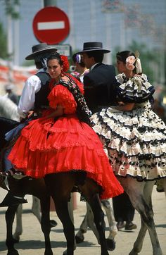 "SPAIN / Celebrations / ""Seville April Fair"" is held in Andalusian capital of Seville, begins two weeks after the Easter Holy Week. The fair begins at midnight on Monday, and runs six days. Sevilla"