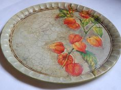 Round Wooden Serving Tray - Decoupage