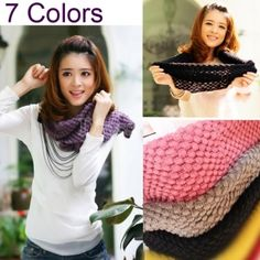 Ok Girls Corn Knited Hood Neck Circle Cowl Wool Scarf Shawl Wrap Loop Warm Looks Style, Style Me, Dress Link, Facon, Cheap Clothes, Asian Clothes, Clothes Women, Dress Me Up, Passion For Fashion