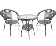Outdoor Patio Wicker Rattan Garden Furniture Set of 2 Chair and Table | eBay