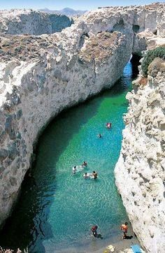 The sea caves of Papafragas, Milos, Cyclades, Greece. Greece is next on my travel list! Places Around The World, Oh The Places You'll Go, Places To Travel, Travel Destinations, Places To Visit, Around The Worlds, Hidden Places, Greece Destinations, Dream Vacations